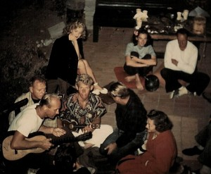 Marilyn at a surfer party, circa 1947