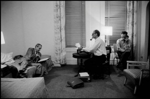 Arthur Miller works on 'After the Fall' at the Chelsea Hotel