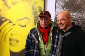 Russell Young with photographer David Bailey, and Marilyn