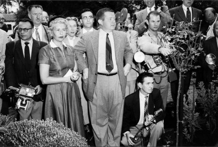 Bob Thomas at centre, outside Marilyn's home after her divorce from Joe DiMaggio is announced, October 6, 1954
