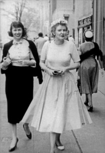 Elaine with Liz Smith in 1956