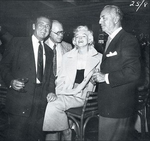 In the Bamboo Room with with Racquet Club owner Charlie Farrell and actor William Powell, 1954