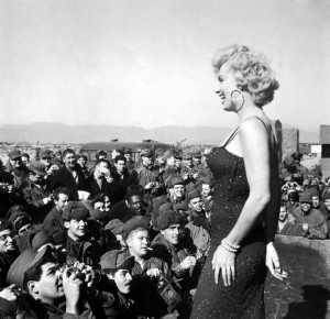Marilyn sings - for real - to troops in Korea, 1954