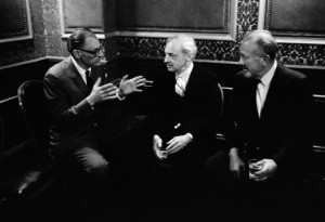 American giants: Arthur Miller with Saul Bellow and John Steinbeck in New York, 1966. (Photo by Inge Morath)