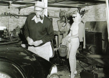 The Millers inside their garage at Roxbury, 1957
