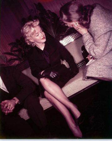 Marilyn with columnist Kendis Rochlen, 1956