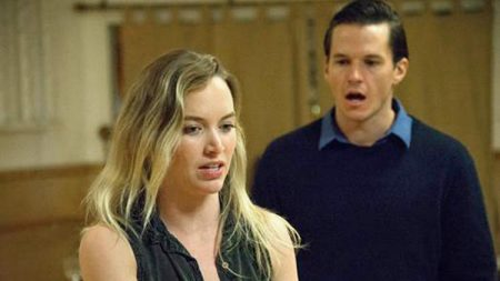 Kelley Jakle (MM) and Mark Hapka (Arthur Miller) in rehearsal for 'Marilyn!'