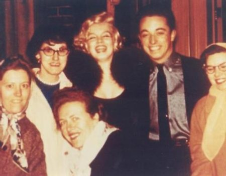 Members of the Monroe Six with Marilyn on James Haspiel's birthday, 1959. (Frieda Hull is pictured kneeling directly below MM.)
