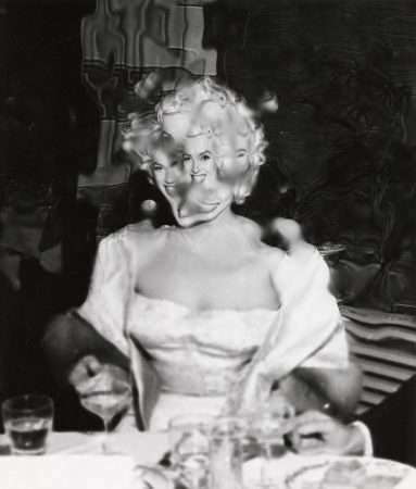 Marilyn at the 'East of Eden' premiere in 1955 - photo and manipulation for Arthur Fellig, aka 'Weegee'