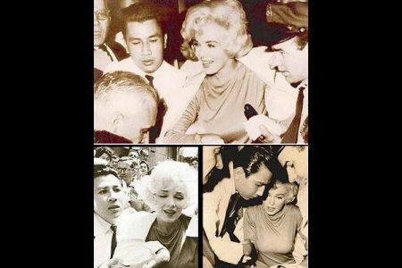 Marilyn leaving the New York Polyclinic with Dr Ramon Acosta Pastor after gallbladder surgery in 1961. (Photo collage by Fraser Penney)