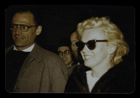 Returning from her Jamaican honeymoon with Arthur Miller, 1957
