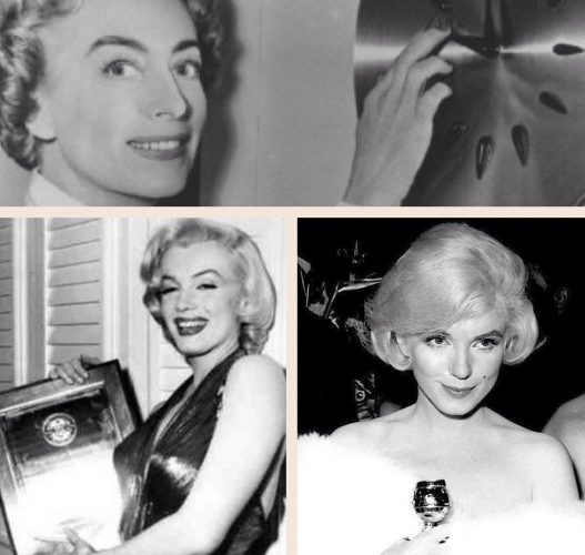 Marilyn at the Photoplay Awards in 1953 (bottom left); and at the Golden Globes in 1960 (bottom right)
