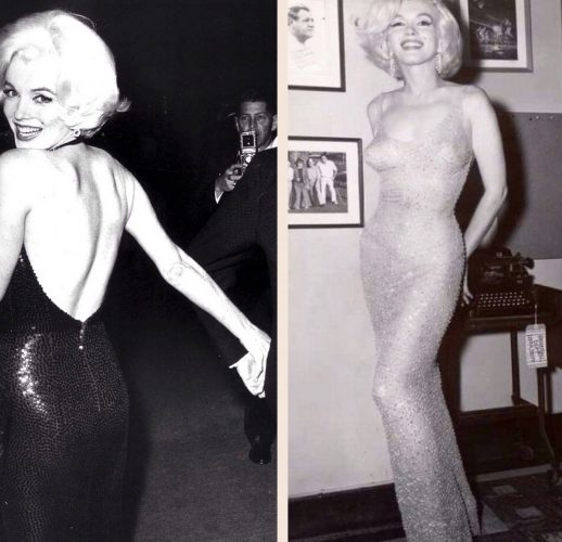 Marilyn at the Golden Globes in February 1962 (left); and at President Kennedy's birthday gala in May (right)